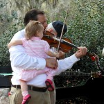 Dad and baby and fiddle